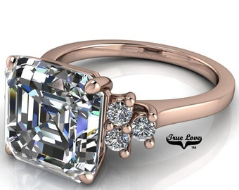 1.25 up to 6 Carat Asscher Cut Moissanite Trek quality #1  VVs Clarity D E F or GH Color as Listed ,14 kt Rose Gold, side stones #8357R