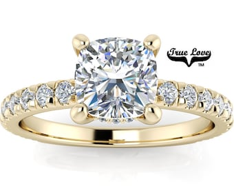 Mined Diamond .94 Carat AGS Certified F Color VS2 Clarity Cushion cut. Engagement Ring, 14kt Yellow Gold  #6729Y