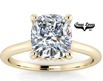 Mined Diamond 1.51 Carat GIA Certified D Color VS1 Clarity Cushion cut. Engagement Ring, 14kt Yellow Gold  #8430Y