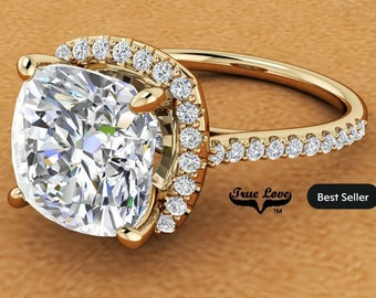 5 Carat Moissanite Engagement Ring Halo Cushion Cut   from 1.75 up to 5 Carat 14 kt Yellow Gold #8379