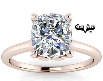 Mined Diamond 1.51 Carat GIA Certified D Color VS1 Clarity Cushion cut. Engagement Ring, 14kt Rose Gold  #8430R