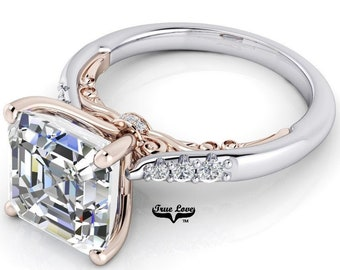 Asscher cut Moissanite Trek Quality #1 D-E Colorless or G-H Near Colorless Engagement Ring 14kt Rose on White Gold  #8418
