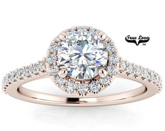 Mined Canadian Diamond Halo Engagement Ring  14kt Rose Gold, .50 Carat GIA Certified Color Grade E Clarity VS1 Cut Grade Very Good  #6727R