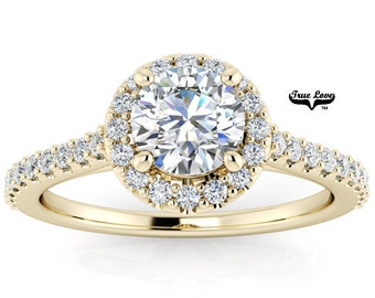 Mined Canadian Diamond Halo Engagement Ring  14kt Yellow Gold, .50 Carat GIA Certified Color Grade E Clarity VS1 Cut Grade Very Good. #6727Y