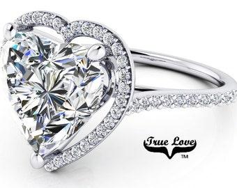 Moissanite Engagement Ring 14 kt White Gold,  Trek Quality #1 D-E Colorless Moissanite VVS clarity , Heart Ring, Halo #8404W