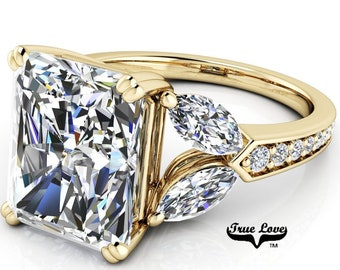 Moissanite Engagement Ring Radiant Cut 1.2,1.5,2.7,3.9 or 5.3 Carat Trek Quality #1 VVS Clarity DE Colorless or GH near Colorless 14kt #8388