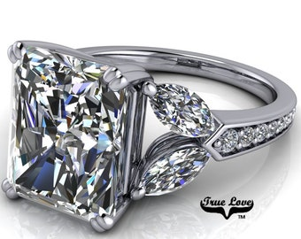 Platinum Engagement Ring Radiant Cut Moissanite 1.2,1.5,2.7,3.9 or 5.3 Carat Trek Quality #1 VVS Clarity DE Colorless   14kt #8387P