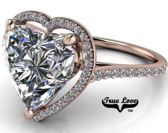 Moissanite Engagement Ring 14 kt Rose Gold,  Trek Quality #1 D-E Colorless Moissanite VVS clarity , Heart Ring, Halo #8404R