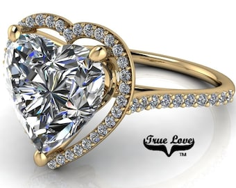 Moissanite Engagement Ring 14 kt Yellow Gold,  Trek Quality #1 D-E Colorless Moissanite VVS clarity , Heart Ring, Halo #8404Y
