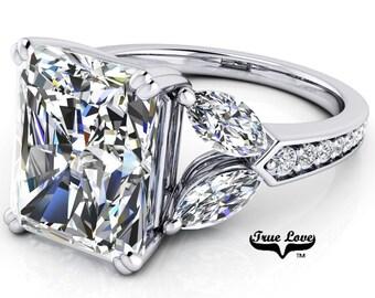 Platinum Engagement Ring Radiant Cut Moissanite 1.2,1.5,2.7,3.9 or 5.3 Carat Trek Quality #1 VVS Clarity DE Colorless   14kt #8387P