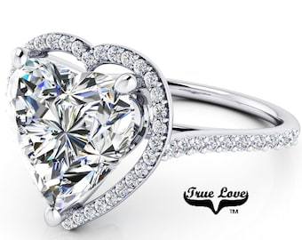 Moissanite Engagement Ring Platinum,  Trek Quality #1 D-E Colorless Moissanite VVS clarity , Heart Ring, Halo #8404P