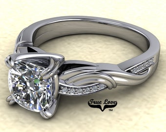 Moissanite Engagement Ring 14kt White Gold, Trek Quality #1, Wedding Ring, Twist Style #8171C