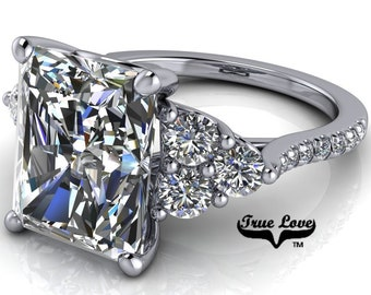 Moissanite Engagement Ring Radiant Cut  1.5,2.7,3.9,5.3 or 7 Carat Trek Quality #1 VVS Clarity DE Colorless or GH near Colorless 14kt #8384P