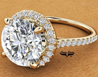 Moissanite Engagement Ring Halo Round  from 1 up to 4 Carat 14 kt Yellow Gold #8302