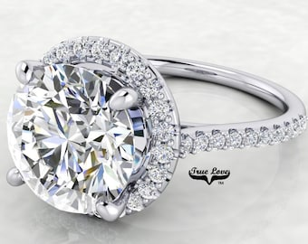 From 1 up to 4  Carat Moissanite Center Stone Engagement Ring Halo Round   from 1 up to 4 Carat 14 kt  White Gold  #8301