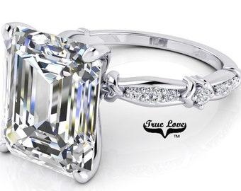 Emerald Cut Moissanite Engagement Ring  #7044