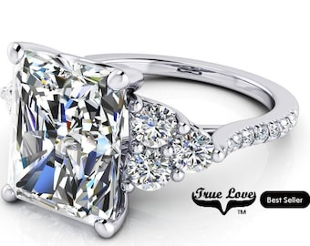 Moissanite Engagement Ring Radiant Cut  1.5,2.7,3.9,5.3 or 7 Carat Trek Quality #1 VVS Clarity DE Colorless or GH near Colorless 14 kt #8384