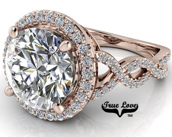 Moissanite Round Infinity-Inspired Halo-Style 14 Kt Rose Engagement Ring #8417