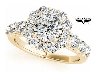 Moissanite Engagement Ring 14 kt.Yellow Gold,Trek #1Quality D-E Color  Moissanites Wedding Ring,Halo Engagement with Side Moissanites #7230