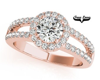 1.25 Carat 7 mm Moissanite Trek Quality#1 Brand True love Engagement Ring 14kt Rose Gold, Wedding Ring, Split Shank, Round Halo  #7299