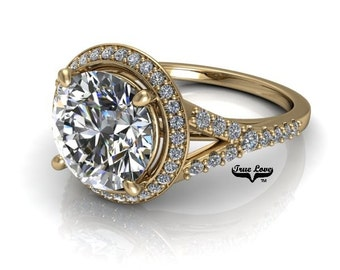 1.50,2 or 3 Carat Moissanite Trek Quality #1 D-E-F or GH Color VVS Clarity Round Brilliant cut Brand:True Love 14kt  Gold Eng Ring,#7905