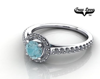 14 kt. White Gold True Love  Round Cut Blue Zircon with Halo and side stones  Engagement Ring. #7122
