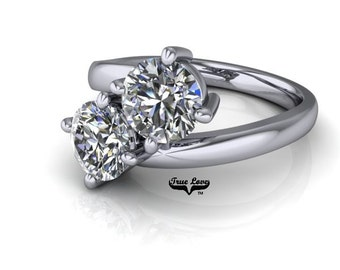 NEW! Two Stone 14  kt. White Gold  6.5 mm 2 Carat Total weight Round Cut Trek Quality #1 Moissanite Engagement Ring #7752