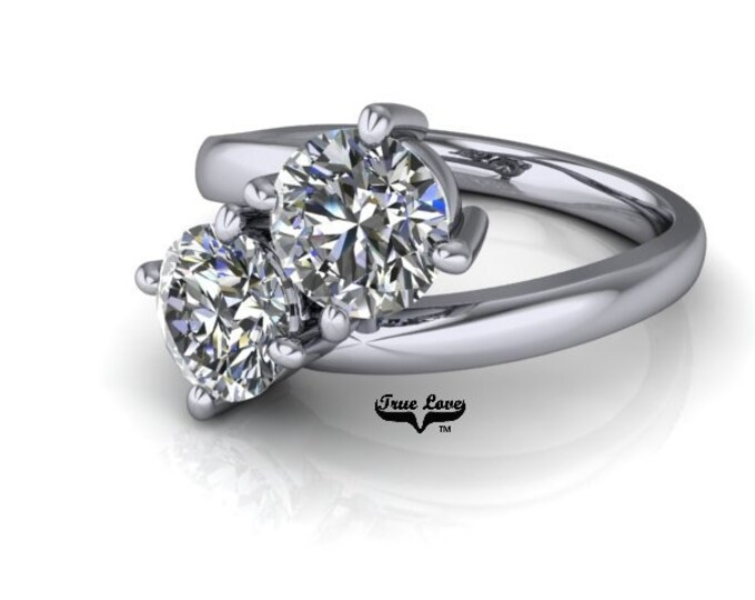 Featured listing image: NEW! Two Stone 14  kt. White Gold  6.5 mm 2 Carat Total weight Round Cut Trek Quality #1 Moissanite Engagement Ring #7752