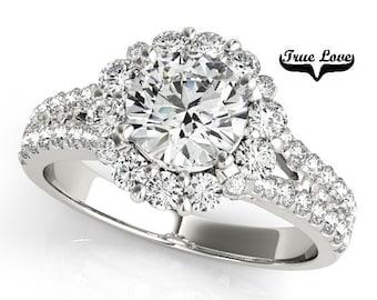 Moissanite Engagement Ring 14kt White Gold,Trek Quality #1 D-E Colorless VVs Clarity,Wedding Ring, Round Halo, Split Shank  #7281