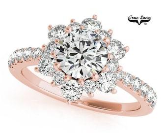 Moissanite Engagement Ring 14kt Rose Gold, Trek Quality #1, Wedding Ring, Side Moissanites, Halo  #7191