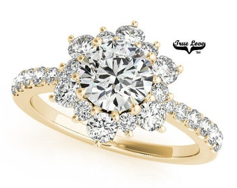 Moissanite Engagement Ring 14kt Yellow Gold #7190