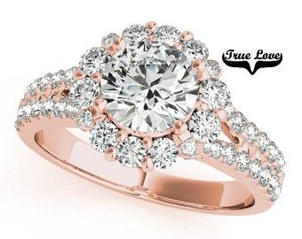 Moissanite Engagement Ring 14kt Rose Gold,Trek Quality #1 D-E Color  VVs Clarity,Wedding Ring, Round Halo, Split Shank,Side Diamonds #7283