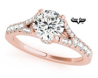 Moissanite Engagement Ring 14kt Rose Gold, Trek Quality #1, Wedding Ring, Side moissanites, Split Shank #7438