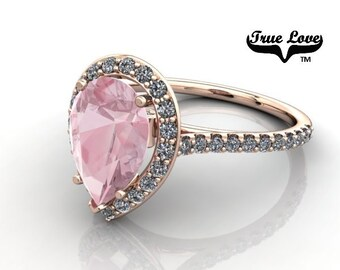 14kt Rose Gold Diamond Accented and Sidestones Pear Shape Light Pink Morganite Engagement Ring. #7113