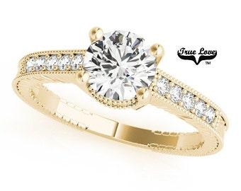 Moissanite Engagement Ring 14kt Yellow Gold #7476