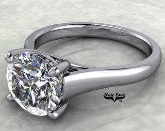 Moissanite Engagement Ring 14 kt White Gold  #7015