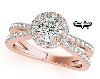 Moissanite Engagement Ring ,Trek Quality #1 D-E Color  VVS Clarity,one Carat Center Halo and side Stones 14kt Rose Gold Split Shank #7238
