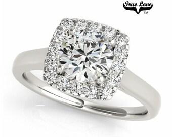 Moissanite Engagement Ring 14kt White Gold, Trek Quality #1, Wedding Ring, Square Halo Engagement #7211