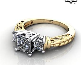 Princess Cut Moissanite Engagement Ring 14kt Yellow Gold #6710