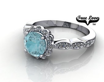 14 kt. White Gold Genuine .72 Carat 5 mm Round Blue Zircon with Halo & Side Moissanites .27 carat Tdw Engagement Ring. #6701