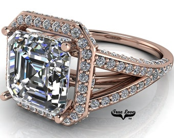 Moissanite Asscher Cut Engagement Ring Trek #1 D-E Color VVS Clarity, With 150 Halo and side Moissanites 14 kt.Rose Gold  #7001