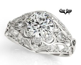 Moissanite Engagement Ring 14kt White Gold, Trek Quality #1, Wedding Ring, Intricate Filigree, Round Engagement, Accent Moissanites #7318