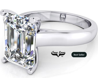 Moissanite Emerald cut Trek Quality#1 D-E Color  VVS1-2 Clarity Brand:True Love Engagement Ring 14 kt White Gold.#7011