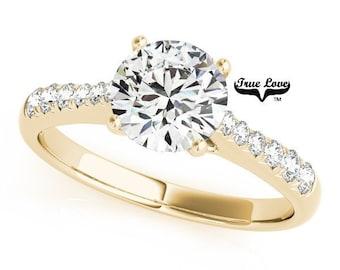 Moissanite Engagement Ring 14kt Yellow Gold #7407