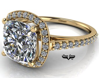 Moissanite Cushion Cut Engagement Ring Trek Quality #1 D-E or G-H Color VVS Clarity. 14kt Yellow Gold #7117
