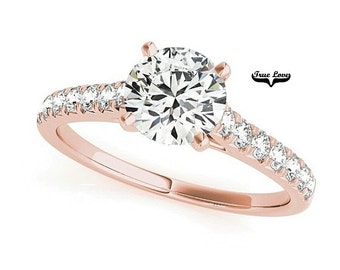 14k Rose Gold Forever Brilliant Moissanite Engagement Ring #7338