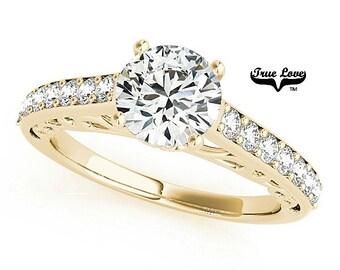 Moissanite Engagement Ring Trek Quality #1 14kt Yellow Gold #7398