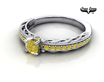 14 kt. White Gold True Love Round .25 Carat Brilliant Cut Fancy Yellow Diamond with With Side   Yellow Round Diamonds Engagement Ring. #6725