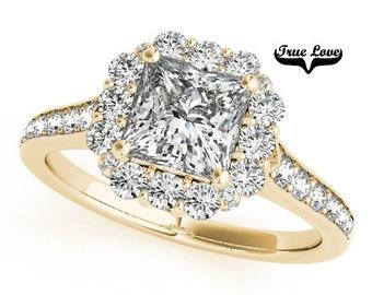 Moissanite Engagement Ring 14kt Yellow Gold #7279