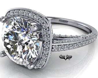 Moissanite Engagement Ring Trek Quality #1 D-E Color VVS Clarity Halo with Side Moissanites Brand: True Love 14kt White Gold #7102